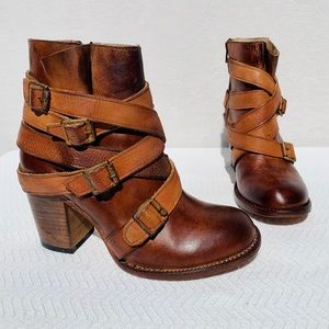 Freebird Tan Strapped Ankle Boots Sz 9 Like New